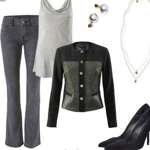 Cabi Gray denim shadow curvy slim Bootcut Jeans